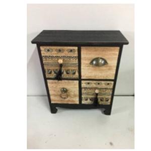 Alhajero diseño cómoda de madera con 4 cajones negra con grabado de 24x11x27cm