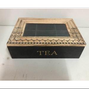 Caja de madera para Te con tapa de cristal de 24x17x7cm