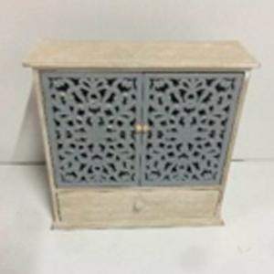 Alhajero diseño cómoda de madera con puertas caladas de 37x12x36cm