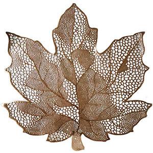 Mantel individual diseño hoja dorada de 46x42cm