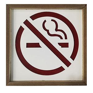 Letrero de no fumar con luz led usa baterIa AAA de 20x20cm