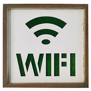 Letrero de Wifi con luz led verde usa bateria AAA de 20x20cm