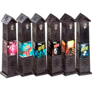 Caja diseño torre con calabera de 10 insiensos aroma Huir de Vampiros
