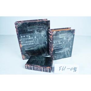 Caja/portalibro de madera con tapa de vidrio estampado diagrama de arma de 24x18x6cm