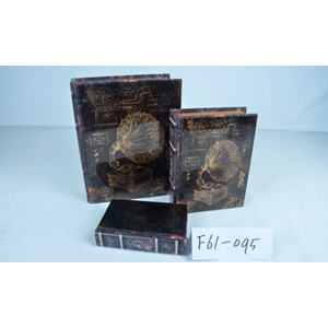 Caja/portalibro de madera con tapa de vidrio estampado fonógrafo de 18x12x4cm