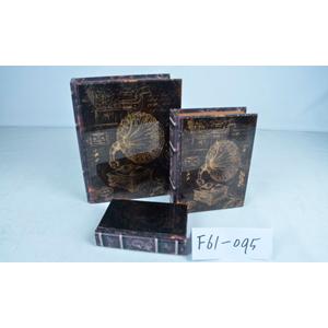 Caja/portalibro de madera con tapa de vidrio estampado fonógrafo de 24x18x6cm