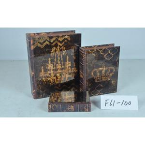 Caja/portalibro de madera con tapa de vidrio estampado candil dorado de 30x24x4cm