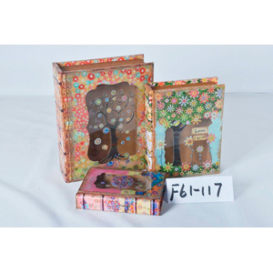 Caja/portalibro de madera con tapa de vidrio estampado árbol de 20x14x4cm