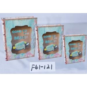 Caja/portalibro de madera con tapa de vidrio estampado pez de 25x19x6cm