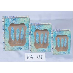 Caja/portalibro de madera con tapa de vidrio estampado plumas azules de 25x19x6cm