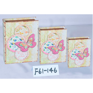 Caja/portalibro de madera estampado 3D de Mariposas de 24x18x6cm
