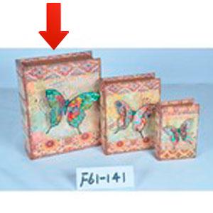 Caja/portalibro de madera estampado 3D de Mariposas de 30x24x8cm