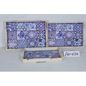 Charola de madera c/mosaicos azules imitacion talavera de 42x28x4cm