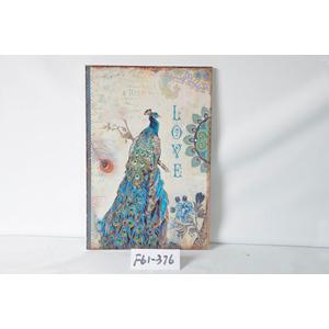 Cuadro de metal diseño Pavorreal en tonos azules de 40x59x2cm