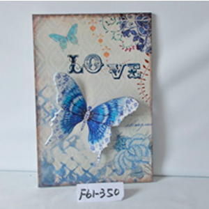 Cuadro de metal diseño Mariposas azules de 40x59x2cm