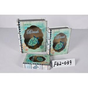 Caja porta libros de madera y tapa de cristal con diseño Marino con tortuga de 20x14x4.3cm