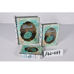 Caja porta libros de madera y tapa de cristal con diseño Marino con tortuga de 30x24x8.3cm