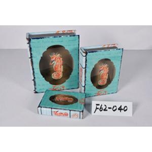 Caja porta libros de madera y tapa de cristal con diseño Marino con caballito de mar de 30x24x8.3cm