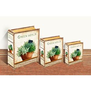 Caja porta libros con estampado de plantas de 30x24x8cm