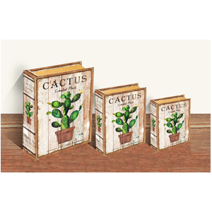 Caja porta libros con estampado de Nopal de 24x18x6cm