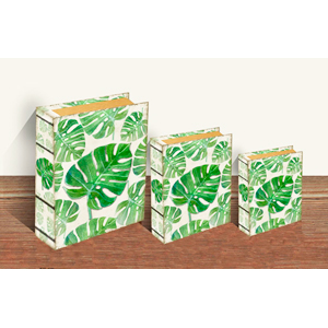 Caja porta libros con estampado de Hojas verdes de 24x18x6cm