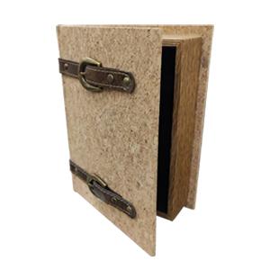 Caja porta libros diseño corcho con cinturones de 24x18x6cm