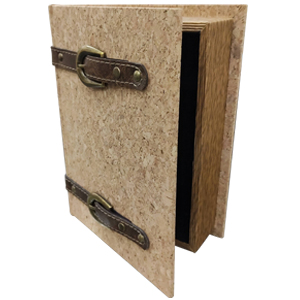 Caja porta libros diseño corcho con cinturones de 30x24x8cm