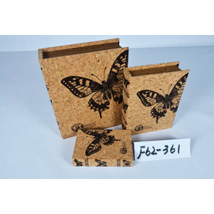 Caja porta libros diseño corcho con estampado de mariposas de 30x24x8cm
