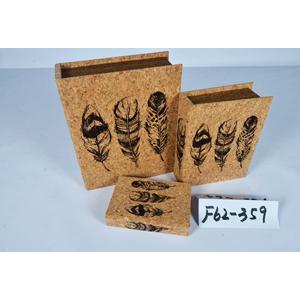 Caja porta libros diseño corcho con estampado de plumas de 30x24x8cm
