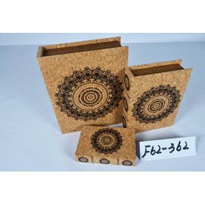 Caja porta libros diseño corcho con estampado circular de 24x18x6cm