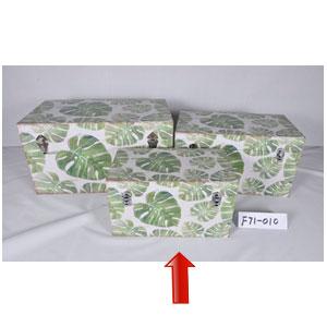 Baúl de madera con estampado de hojas de 42x26x25cm