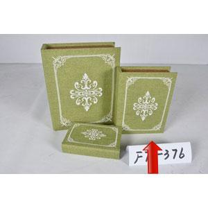 Portalibros forrado de tela verde con diseño blanco de 24x18x6cm