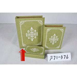 Portalibros forrado de tela verde con diseño blanco de 30x24x8cm
