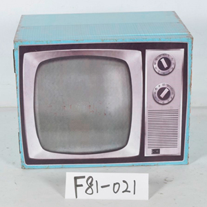 Caja de madera diseño Televisión azul de 44x30x34cm