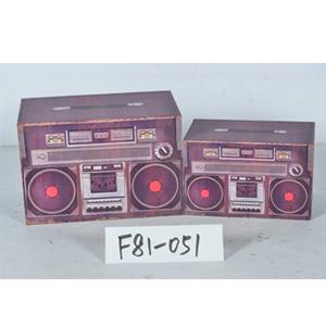 Caja de madera diseño Radio de 30x18x20cm