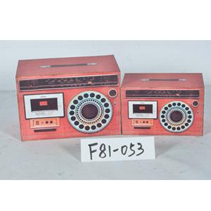 Caja de madera diseño Radio antiguo rojo de 30x18x20cm