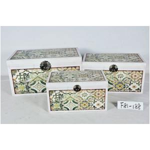 Caja de madera diseño mosaicos verdes de 42x26x25cm