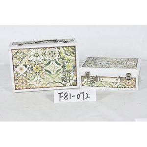 Maletín de madera diseño azulejos verdes de 30x20x11cm