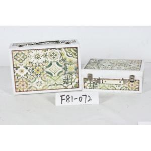 Maletín de madera diseño azulejos verdes de 34x25x14cm