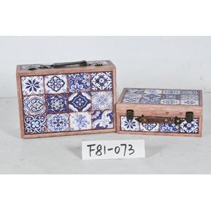 Maletín de madera diseño azulejos azules de 34x25x14cm