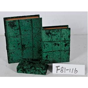Caja portalibros forrada de terciopelo verde de 30x24x8cm