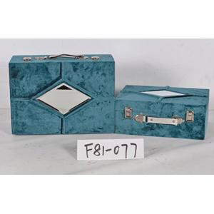 Maletín forrado de terciopelo azul con espejo de 34x25x14cm