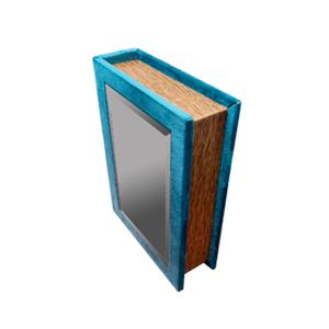 Caja portalibros forrada de terciopelo azul con espejo de 18x12x4cm