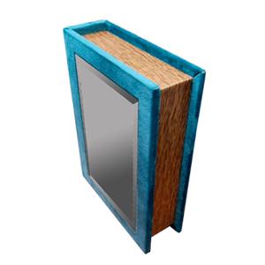 Caja portalibros forrada de terciopelo azul con espejo de 24x18x6cm