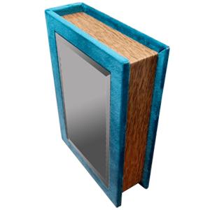 Caja portalibros forrada de terciopelo azul con espejo de 30x24x8cm
