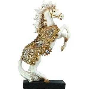 Caballo blanco con montura dorada de 17.7x6.9x30cm