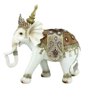 Elefante blanco con montura dorada de 34.7x13x32.5cm
