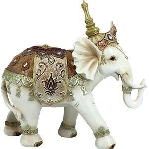 Elefante blanco con montura dorada de 29.6x11.4x28.5cm