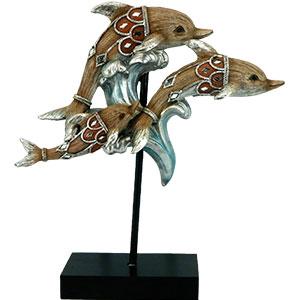 Delfines en base con espejos de 27x9.7x30cm