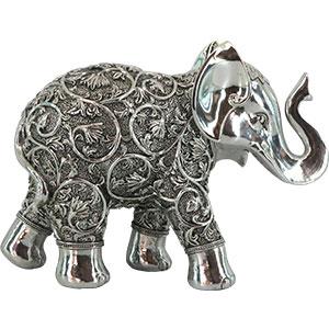 Elefante plateado con diseño de 30.74x11x22cm